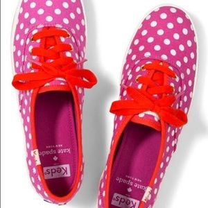 Kate spade for keds pink red polka dot sneakers